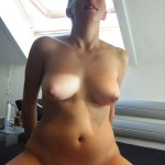 Big Boobed Blonde shows Pussy