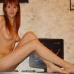 Skinny Girl spreads Pussy