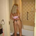 Blonde Girl with hughe Silicon Boobs
